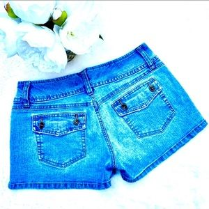 GLO Medium Wash Denim Jean High Rise Mini Shorts